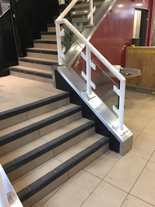 Stainless Steel Handrail Capping with Stainless Steel Rose Covers - Newport