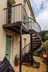 Brown Painted Mild Steel Spiral Staircase
