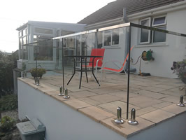 Glass Handrail with Stainless Steel Capping