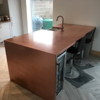 Copper Kitchen Worktop with Sink Cutout