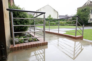 Stainless Steel and Black Handrail