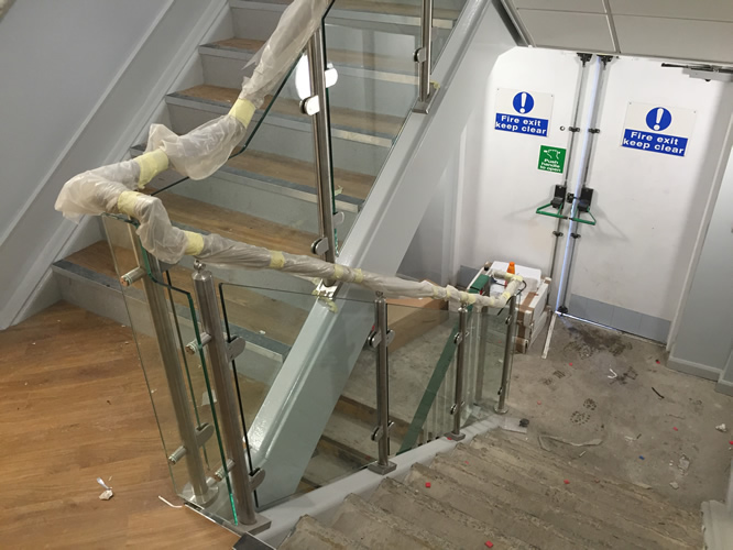 Stainless Steel Handrail with Templated Glass - Santander Plymouth