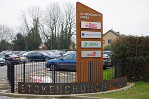 Corten Steel Totempole and Ribbon Sign - Stokenchurch