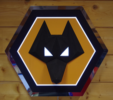 Mirror Polished Stainless Steel, Acrylic and 3D Printed Wolves Sign